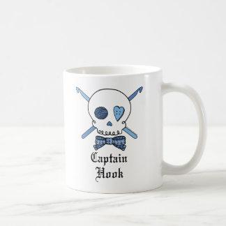 Capitán Hook Skull y ganchos de ganchillo (azules) Taza