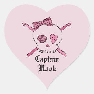 Capitán Hook Skull y ganchos de ganchillo (parte Pegatina En Forma De Corazón