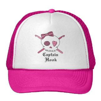 Capitán Hook Skull y ganchos de ganchillo (rosa) Gorra