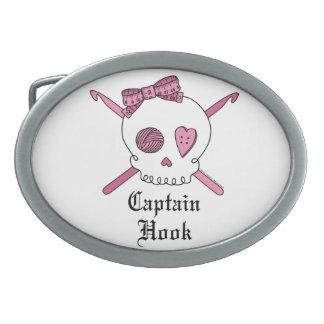 Capitán Hook Skull y ganchos de ganchillo (rosa) Hebilla Cinturon Oval