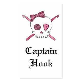 Capitán Hook Skull y ganchos de ganchillo (rosa) Tarjetas De Visita