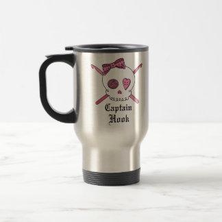 Capitán Hook Skull y ganchos de ganchillo (rosa) Taza De Viaje De Acero Inoxidable