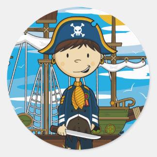 Capitán joven Sticker Sheet del pirata Etiquetas Redondas