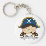 Capitán Keychain del pirata del chica Llaveros Personalizados