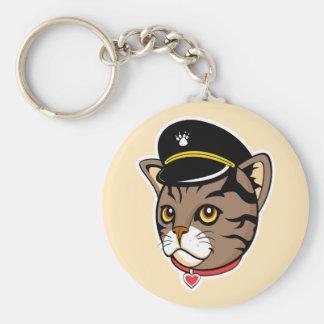 Capitán Kitty Keychain Llavero Redondo Tipo Pin