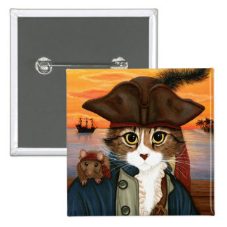 Capitán Leo gato del pirata y botón del arte de l Pin