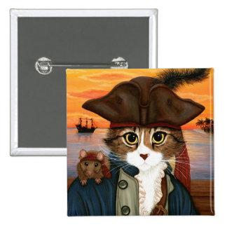 Capitán Leo, gato del pirata y botón del arte de Pin Cuadrado