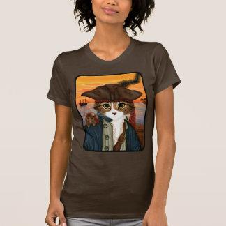Capitán Leo gato del pirata y camiseta del arte d