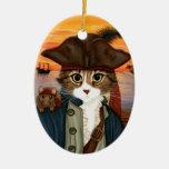 Capitán Leo, gato del pirata y ornamento del arte  Adorno De Navidad