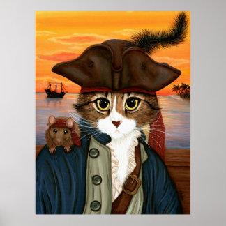Capitán Leo, gato del pirata y poster del arte de