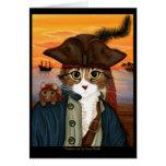 Capitán Leo, gato del pirata y tarjeta del arte de