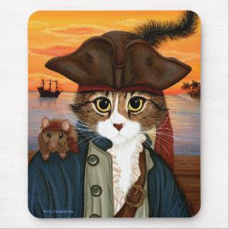 Capitán Leo, gato y arte Mousepad del pirata de la