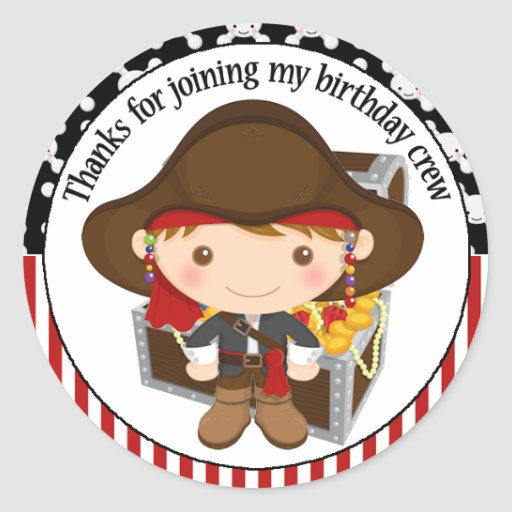 Capitán lindo Birthday Thank You del pirata Pegatina Redonda