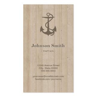 Capitán - madera náutica del ancla tarjetas de visita