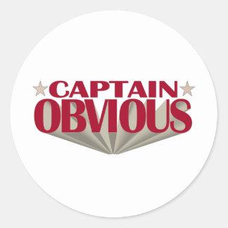 Capitán Obvious Pegatina Redonda