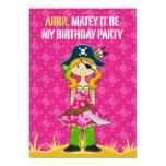 Capitán Party Invite del pirata del chica Comunicado