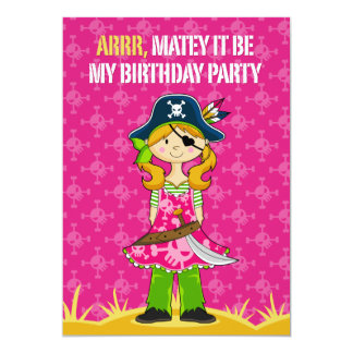 "Capitán Party Invite del pirata del chica Invitación 5"" X 7"""
