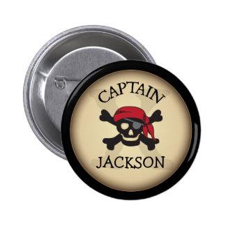Capitán personalizado fiesta Button del pirata Pin Redondo 5 Cm
