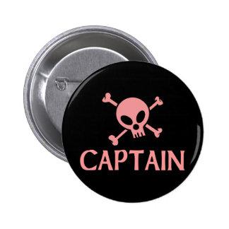 Capitán Pink Skull Pin Redondo De 2 Pulgadas