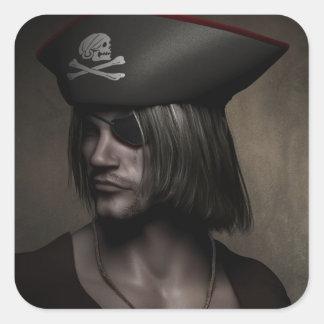 Capitán Portrait del pirata Calcomania Cuadradas Personalizadas