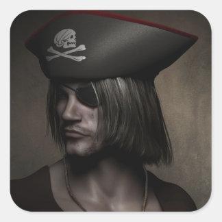 Capitán Portrait del pirata Colcomanias Cuadradas