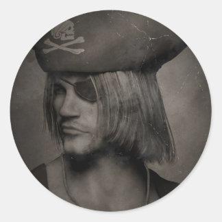 Capitán Portrait - efecto antiguo del pirata Pegatinas Redondas