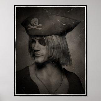Capitán Portrait - efecto antiguo del pirata Póster