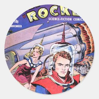 Capitán Rocket Comic Pegatina Redonda