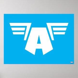 Capitán símbolo con alas América Póster