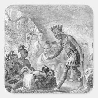 Capitán Smith rescatado por Pocahontas Calcomanías Cuadradass