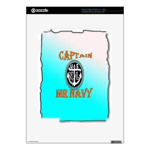 CAPITÁN Sr. NAVY con pendiente iPad 2 Calcomanías