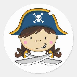 Capitán Sticker del pirata del chica Pegatina Redonda