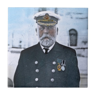 Capitán titánico Edward J. Smith del RMS Azulejo Cuadrado Pequeño