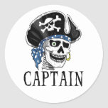 Capitán tuerto del pirata pegatina redonda