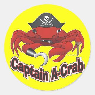 Capitán Uno-Cangrejo Pegatina Redonda