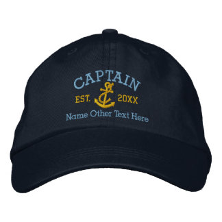 Capitán With Anchor Personalized Gorra De Beisbol Bordada