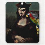 Capitán With del pirata de Mona Lisa un bigote Alfombrilla De Ratón