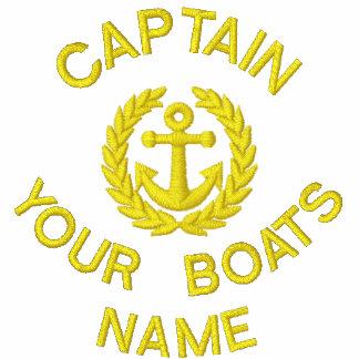 Capitán y ancla personalizados del barco de polos con embordados mangas largas