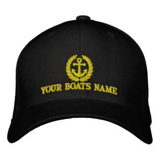 Capitanes personalizados del nombre del barco de gorras bordadas