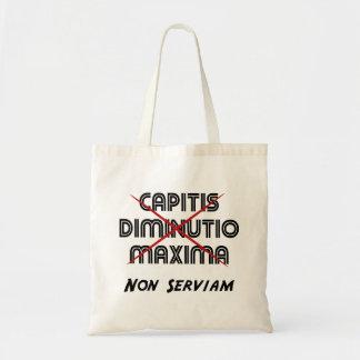 capitis diminutio maxima non serviam canvas bags