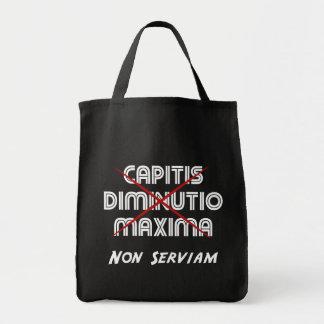 capitis diminutio maxima non serviam on black canvas bags
