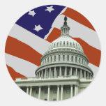 Capitol American Flag Classic Round Sticker