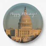 Capitol at Christmas Washington DC Holiday Photo Paper Plate