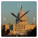 Capitol at Christmas Washington DC Holiday Photo Square Wall Clock