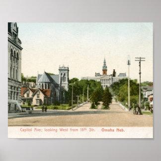 Capitol Ave., Omaha, Nebraska Vintage Poster