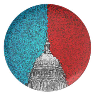 Capitol Building Abstract Melamine Plate