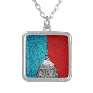 Capitol Building Abstract Silver Plated Necklace