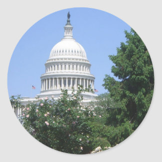Capitol Building from Bartholdi Park in Washington Classic Round Sticker
