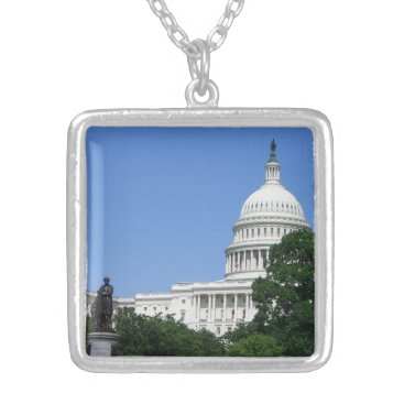 USA Themed Capitol Building in Washington DC Silver Plated Necklace