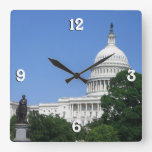 Capitol Building in Washington DC Square Wall Clock
